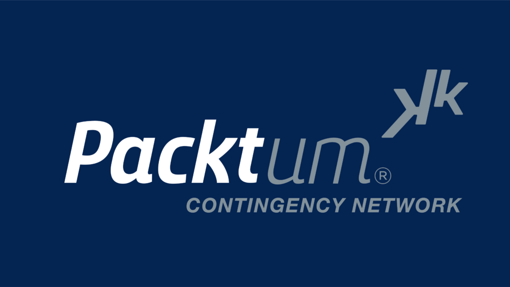 Packtum logo with blue background